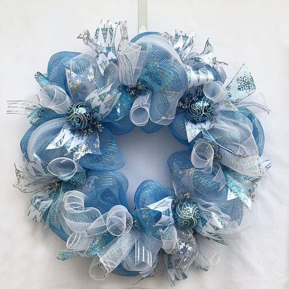 Ice Blue Silver And White 24 Inch Christmas Wreath Chrw015 Deco Mesh Christmas Wreaths Christmas Mesh Wreaths Silver Christmas Decorations