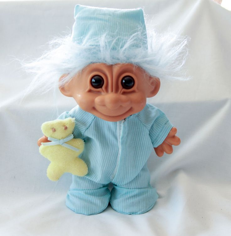 "Russ Troll Doll Nighty Night Blue Pajamas Blue Hair Yellow teddy bear aprox 7""  #Russ #Dolls"
