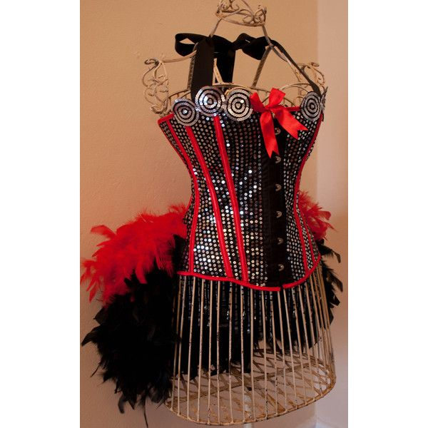 DIVA- Circus Corset Burlesque Costume Red Black ❤ liked on Polyvore