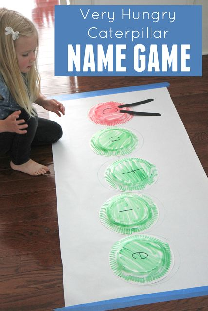 Very Hungry Caterpillar Paper Plate Name Game a  hands on game for preschoolers by Toddler Approved.