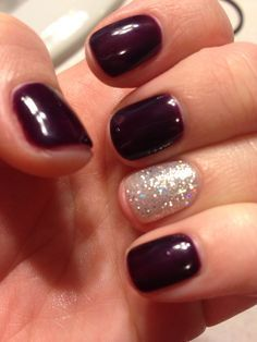 Plum and sparkle gel nails