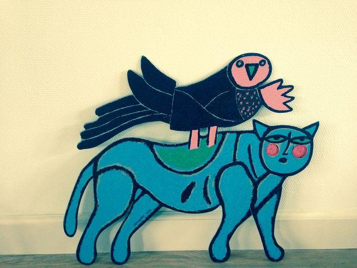 Chat Blue avec Oiseau Noir - sculptuur - gesigneerd in de plaat - oplage 99 ex. - 2007  'Chat Blue avec Oiseau Noir' - metalen sculptuur, gesigneerd in de plaat, editie 99,  Prachtige metalen sculptuur van Corneille, met een oplage van slechts 99 stuks (de meeste metalen sculpturen hebben een oplage van 199 stuks), getiteld: 'Chat Blue avec Oiseau Noir'.  - Afmetingen circa 70 x 60 cm.