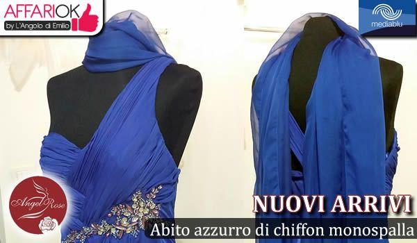 Abito azzurro di chiffon monospalla con lavorazioni di perline e strass http://affariok.blogspot.it/2015/08/abito-azzurro-di-chiffon-monospalla-da.html