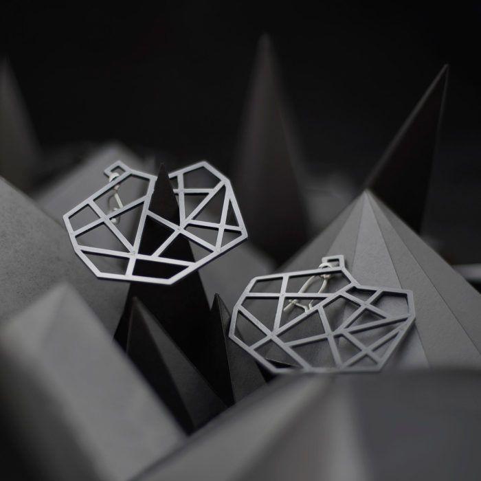 Spacelights Earrings—black 3D printed geometric earrings from Spacelights