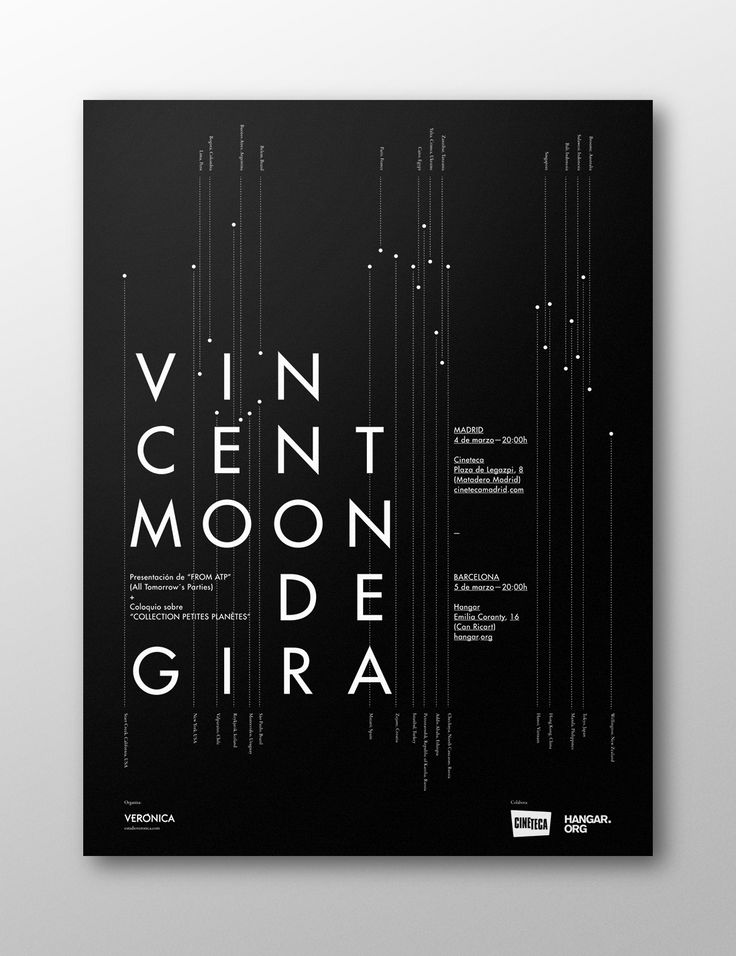 Minimalist typographic poster by Vincent Moon de Gira.