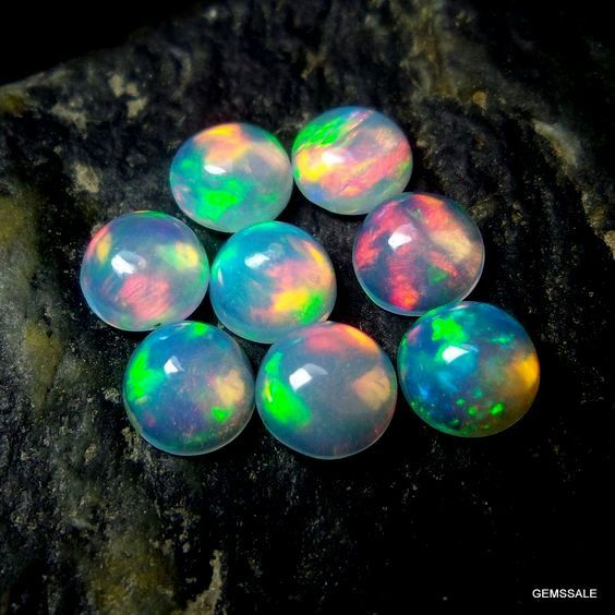 10 pcs Lot 5 mm ETHIOPIAN OPAL Round Cabochon Smooth by GEMSSALE