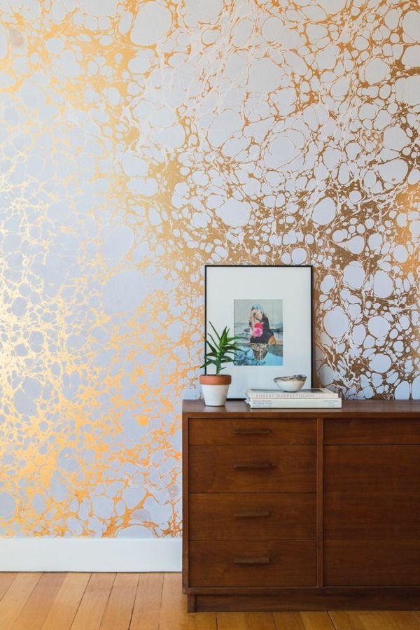 wandgestaltung ideen mustertapeten in gold - Ideen Wandbemalung Wohnzimmer