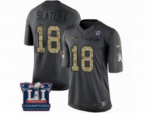 Nike New England Patriots #18 Matthew Slater Limited Black 2016 Salute to Service Super Bowl LI Champions Jersey