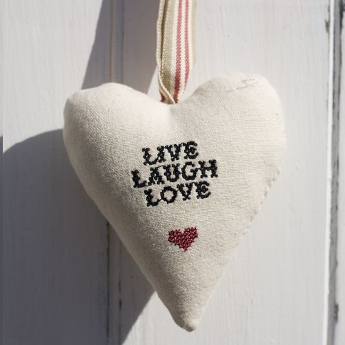"Cross Stitch Heart - ""Live Laugh Love"""