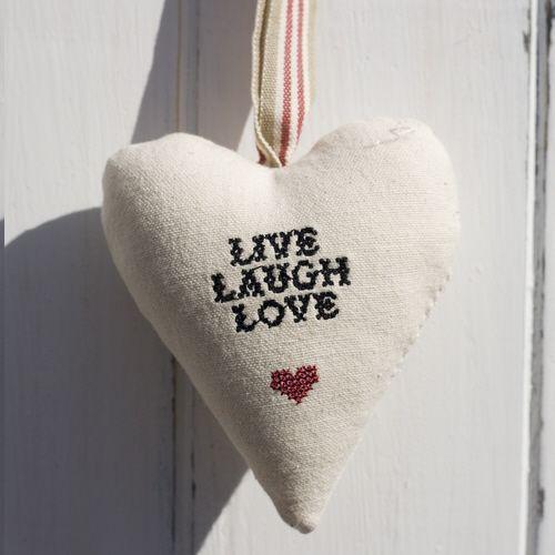 "Cross Stitch Heart - ""Live Laugh Love"""