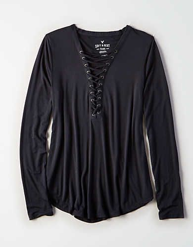 1d983e51 AE Soft & Sexy Long-Sleeve Lace-Up T-Shirt | Tops-Long Sleeve in ...