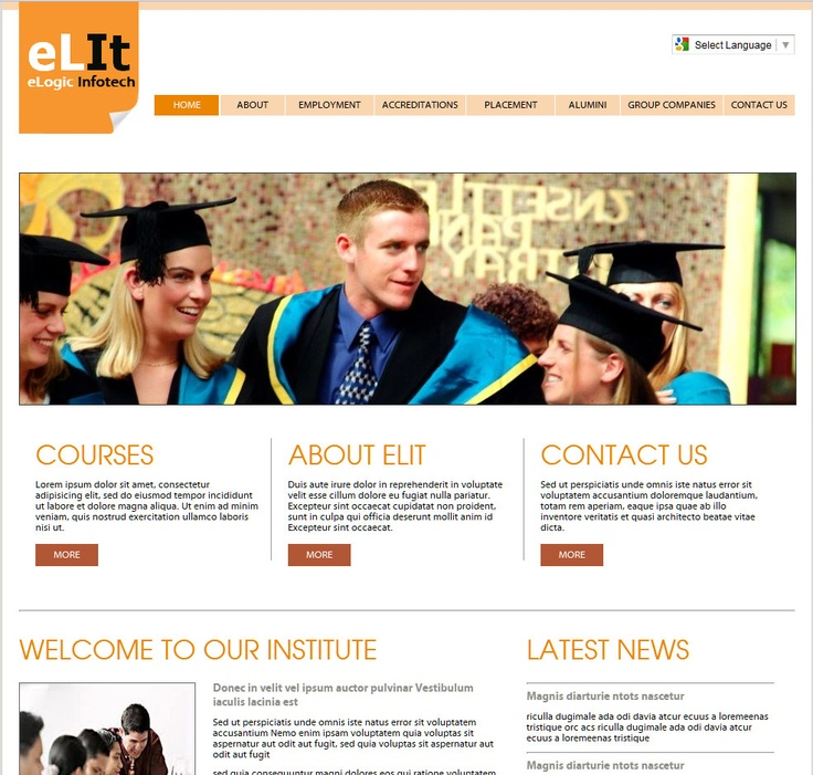 simple website design for education, Brown and nude colors, Yellow and Red