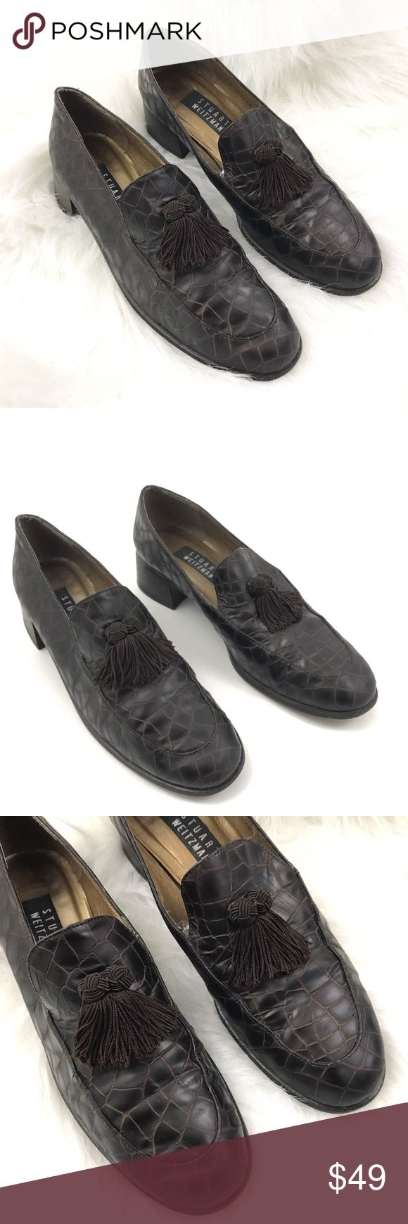 """Stuart Weitzman Tassel Loafers Chunky Heel Shoes Stuart Weitzman Brown Tassel Loafers Stacked Heels Women's Shoes    Size 9 Narrow    Pre Owned Shoes, in great Shape  No Holes, Stains or Fading on Upper  Original box is Not included  Heel height: 1.5""""        Item comes from a pet free/smoke free clean environment  please contact me for any additional questions  I offer combined shipping Stuart Weitzman Shoes Flats & Loafers"""