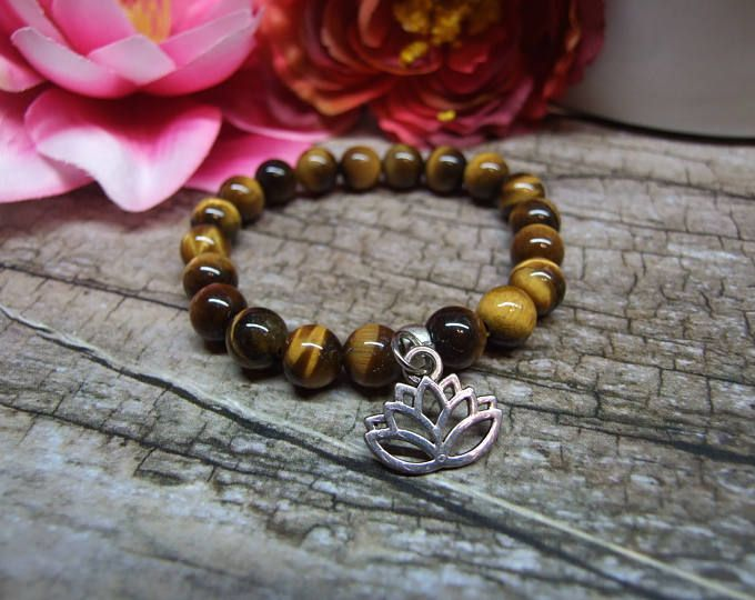 Tiger eye bracelet / Natural gemstone bracelet, Fine jewelry, Crystal gemstone, Healing reiki yoga jewelry