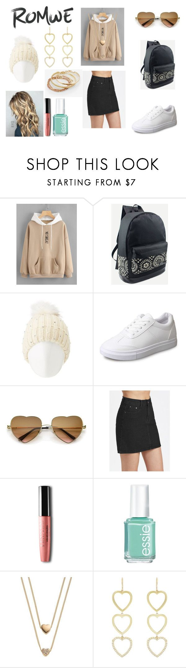 """""""Romwe contest : Letter Embroidered Kangaroo Pocket Hoodie"""" by holly32196-1 on Polyvore featuring Charlotte Russe, Essie, LC Lauren Conrad, Jennifer Meyer Jewelry and Express"""