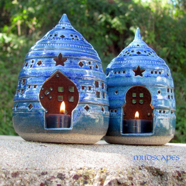 Blue lanterns - white clay
