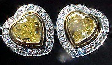 Earrings- 2.07ctw Natural Fancy Light Yellow Heart Shape Diamond ...