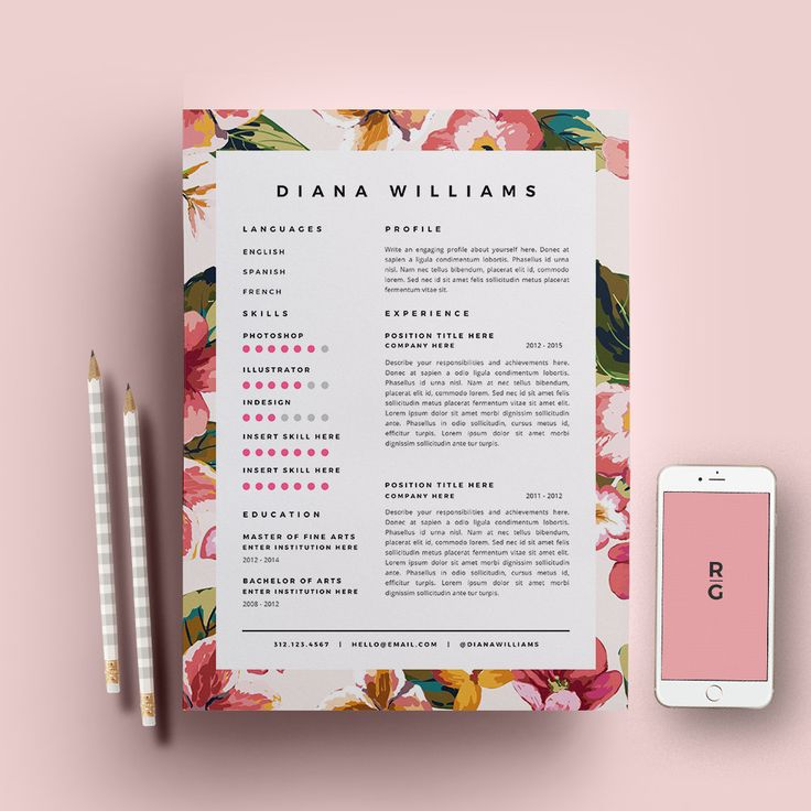 Resume Template 3 Page Pack CV Template Cover By ResumeGalleria Mais  Graphic Design Resume Ideas