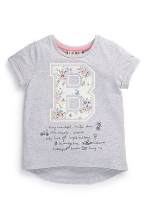 Buy Grey Floral 'B' T-Shirt (3mths-6yrs) from the Next UK online shop