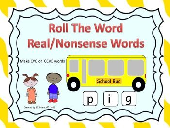 Students will love putting together words as they roll the dice and place on the windows of these adorable school buses. They can make CVC or CCVC words. This activity also comes with some kid friendly lined paper to record their real and nonsense words that they make.