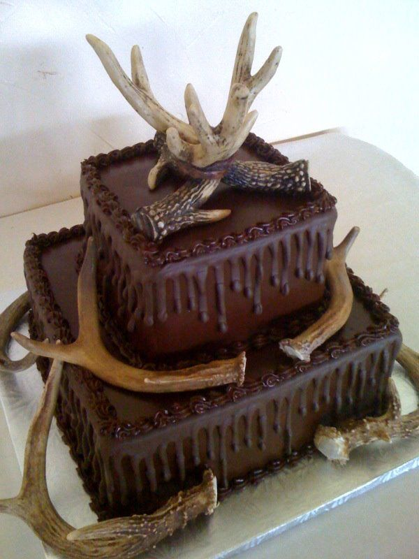 Grooms Cake. Deer Horns 2 tier