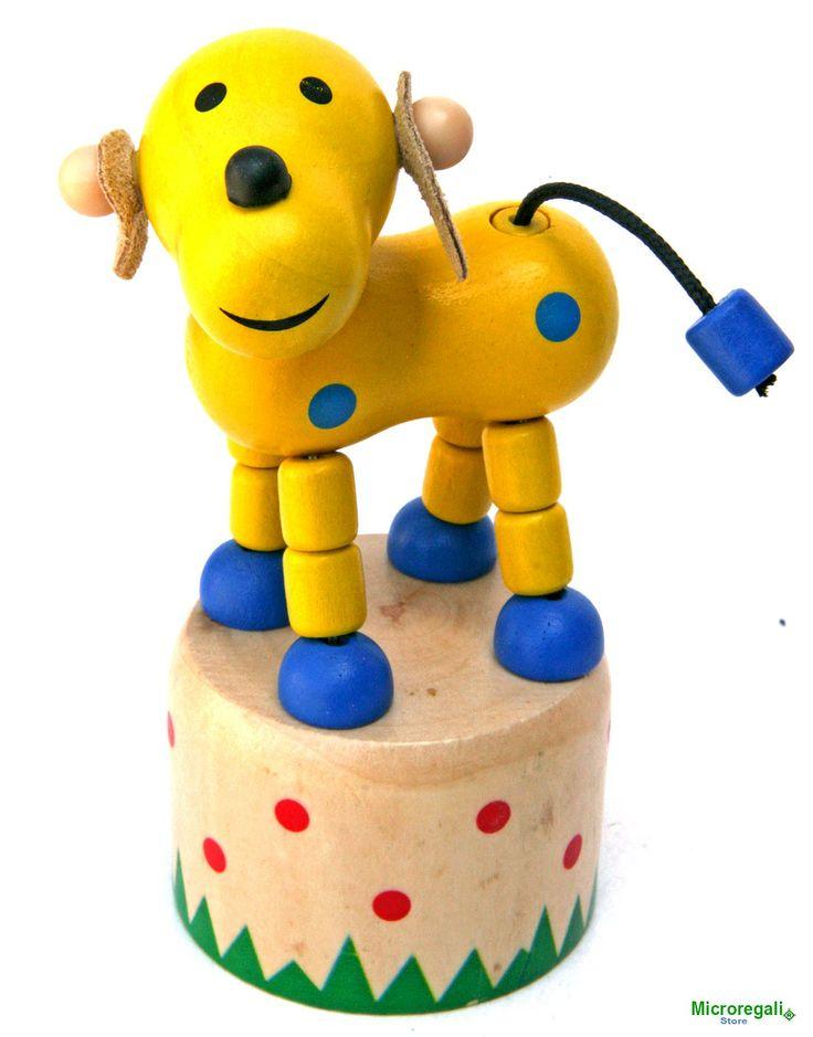 CANE in Legno Animato a Pressione cm 12 h per Cameretta Bambini. - Animali Animati a Pressione in Legno - Regali per i BAMBINI
