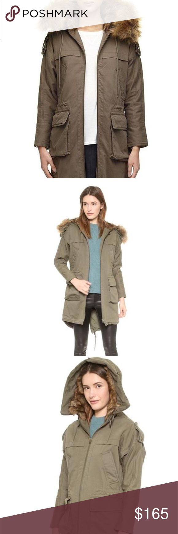 """WHISTLES Donnie Faux Fur Hooded Olive Parka Coat """"This fiber-filled Whistles jacket has a faux-fur-trimmed hood for a cozy update to the utilitarian look. Drawstrings cinch the waist and hem, and 4 pockets detail the front.     -Long sleeves  -Quilted lining  -Fabric: Soft twill  -Shell: 82% cotton/18% lyocell  -Lining: 65% cotton/35% polyester  -Fill: 100% polyester  -Dry clean Whistles Jackets & Coats Utility Jackets"""