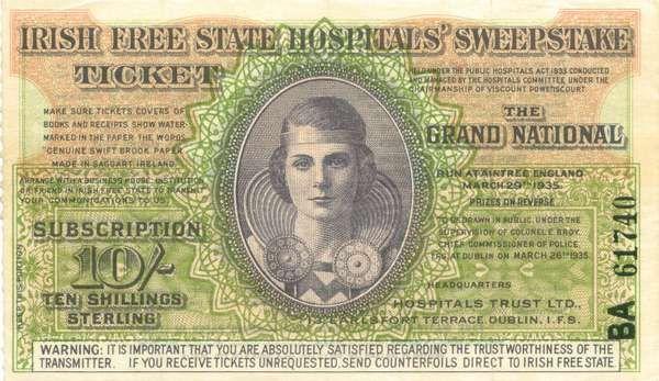 Irish Sweeps Stakes ticket - Aintree Grand national 1935