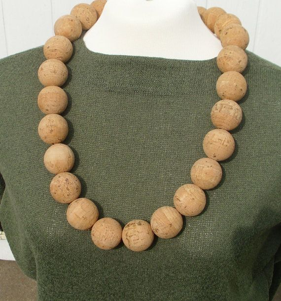 Necklace made of the most beautiful and natural cork beads.