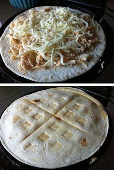 23 Things You Can Cook In A Waffle Iron   Waffle Iron Quesadilla – More at http://www.GlobeTransformer.org