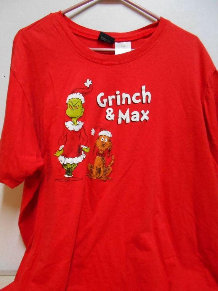 SIZE 2XL Men's Humorous Dr Seuss Christmas T-Shirt W/Grinch & Max Short Sleeves #DrSeuss #GraphicTee