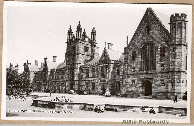 Vintage real photo postcard of Sydney University in Sydney, New South Wales, Australia. Depicts the university, old cars and students sitting around.