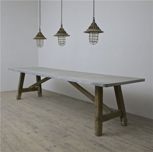 A Large And Beautiful C19th Work Preparation Table With Later Weathered Zinc
