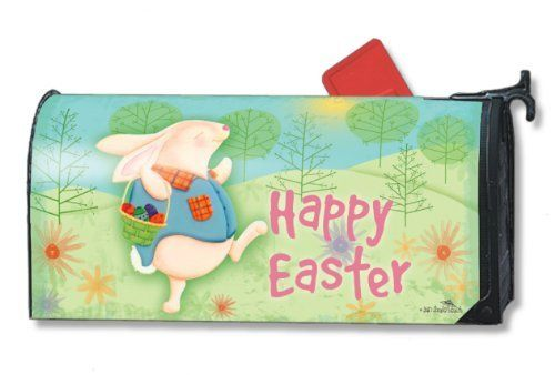 "Easter Morning Mailwraps Magnetic Mailbox Cover by Magnet Works. $14.99. Reuseable & all weather. Mailbox Cover may be trimmed for a custom fit.. Fits standard sized mailboxes, 6.5""W x 19""L. Made of durable fade resistant vinyl. Includes a sheet of vinyl numbers..  MailWraps  Mailbox Covers are pre-cut to fit a standard metal mailbox 6 1/2 wide x 19 deep. Magnetic mailbox cover attaches using magnetic strips. Three sets of large self-adhesive address numbers included..."