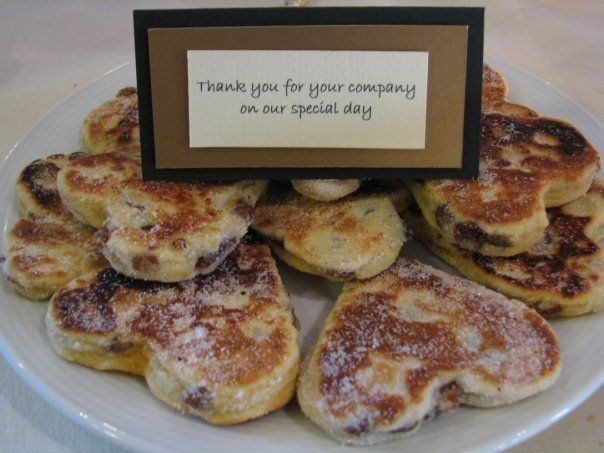 """Our bride was Welsh and chose Welsh cakes as favours with a message for guests in Welsh on one side and English on the other saying, """"Thank you for your company on our special day"""" #wedding #favours #weddingfavours #welsh"""