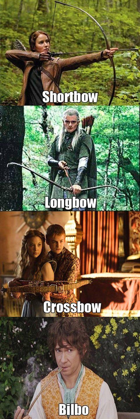 Shortbow, longbow, crossbow, Bilbo. Bahahahaha!