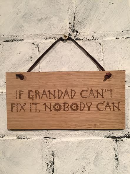 If Grandad can't fix it, nobody can.  Shabby chic style wooden wall plaque sign. Gift for grandad wall hanging decoration stocking filler. by EngraviaDigital on Etsy