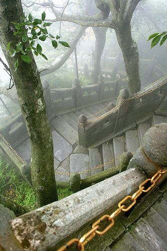 Jagged Stairs, Wudang Mountains Taoist complex, Hubei ...