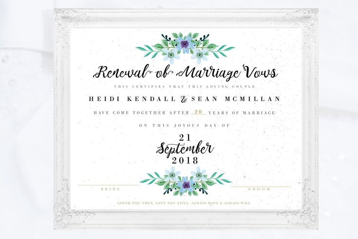 Printable vow renewal certificate marriage certificate vow