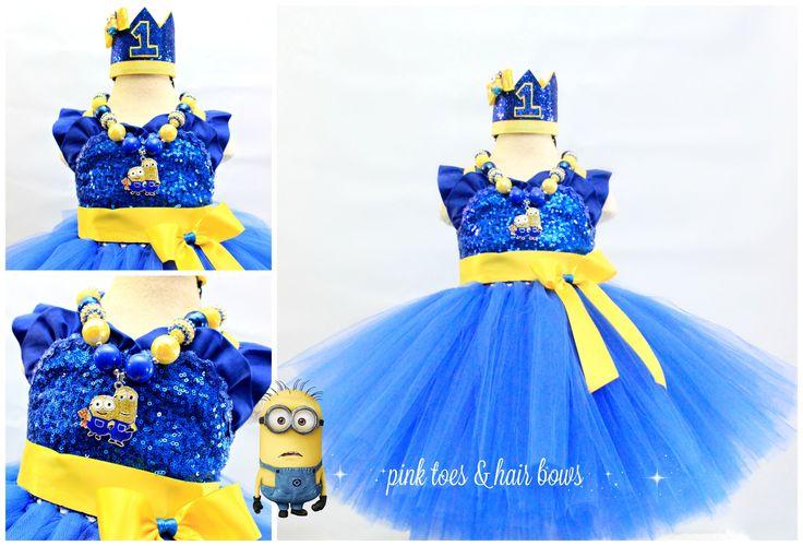 Minion tutu dress-despicable me tutu dress- Minion tutu outfit-minion costume-minion dress-minion birthday-minion party-minion outfit-minion by GlitterMeBaby on Etsy