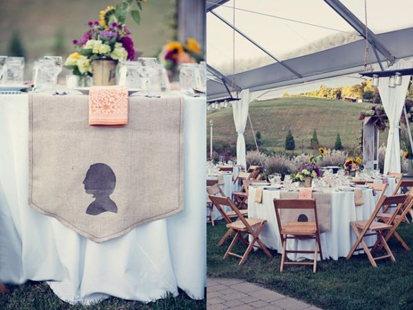 tan chairs : Tables Design, Burlap Tables Runners, Virginia Vineyard, Vineyard Wedding, Burlap Runners, Silhouette Tables, Gardens Parties Wedding, Art Virginia, Tables Decor