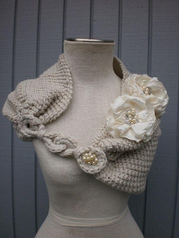 cape de mariage en tricot | ... | Boléro De Mariée, Châle De Mariage et Haussement De Noce