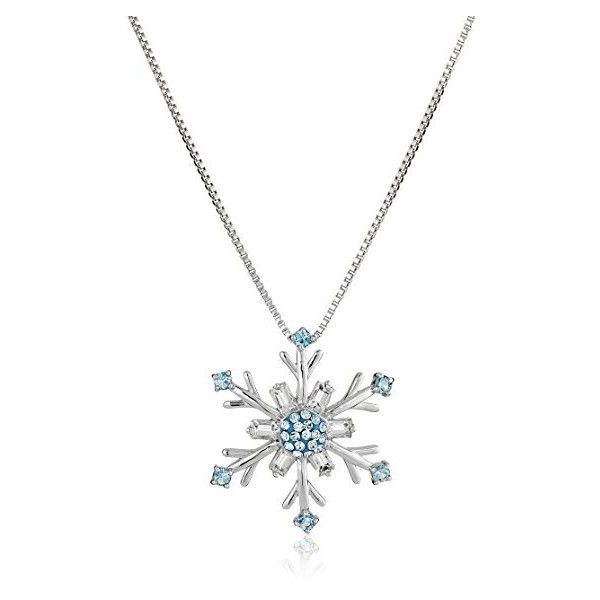 Sterling Silver Blue and White Swarovski Elements Snowflake Pendant... ($55) ❤ liked on Polyvore featuring jewelry, necklaces, pendant necklaces, snowflake jewelry, sterling silver jewellery, sterling silver jewelry and snowflake pendant necklace
