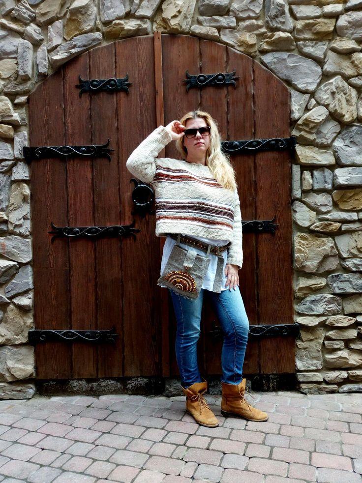 Купить Оверсайз. Lagenlook Вязанный свитер оверсайз. - шерстяной свитер, вязанный свитер, бежево-коричневый