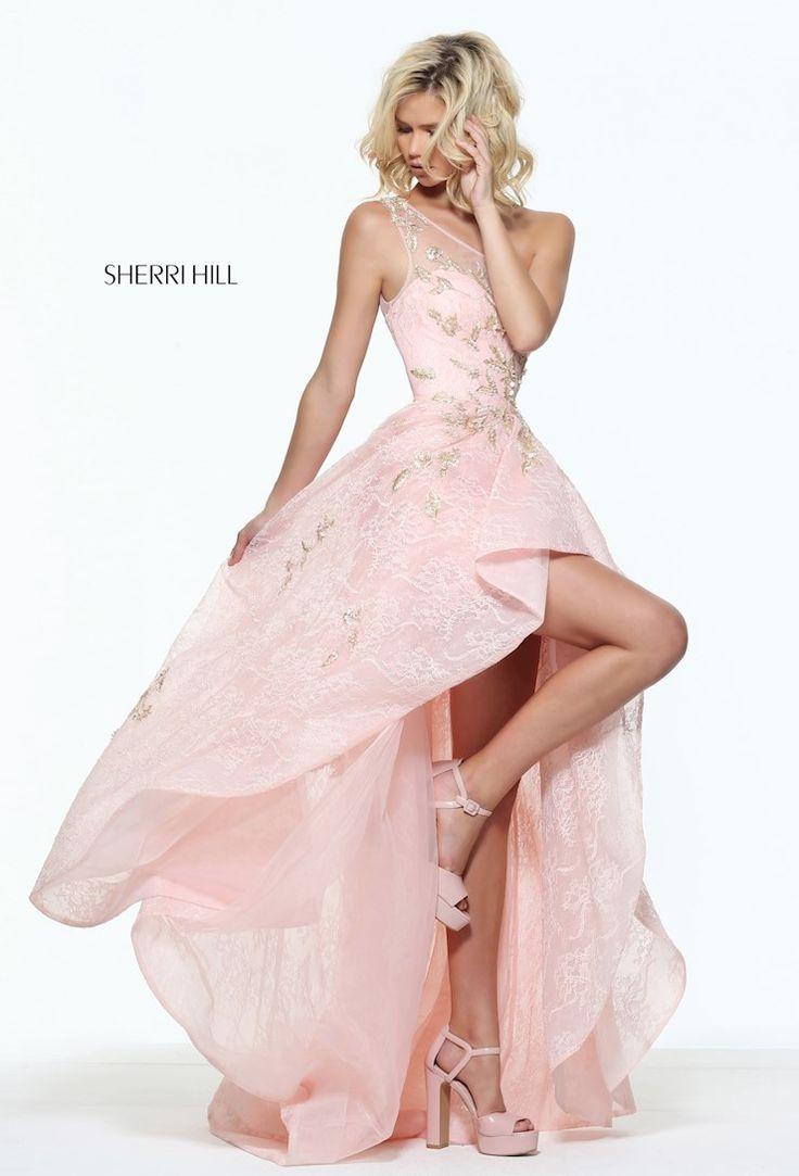 2017 Sherri Hill Light Pink 50968 Appliques One Shoulder Hi-Low Prom Dress