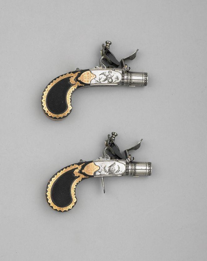 Pair of flintlock/boxlock pistols crafted by the legendary Versailles master gunsmith Nicolas Noel Boutet, 1810.