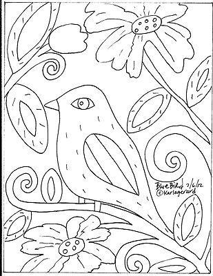 Rug Hooking Paper Pattern Blue Bird Folk Art Abstract Primitive Karla G   eBay