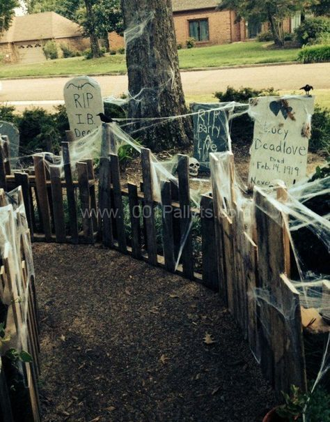"""22 Halloween Pallet Projects • I especially like the look of this pathway next to a """"graveyard"""""""