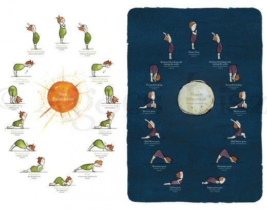 Sun and Moon Salutations - Yoga Poster