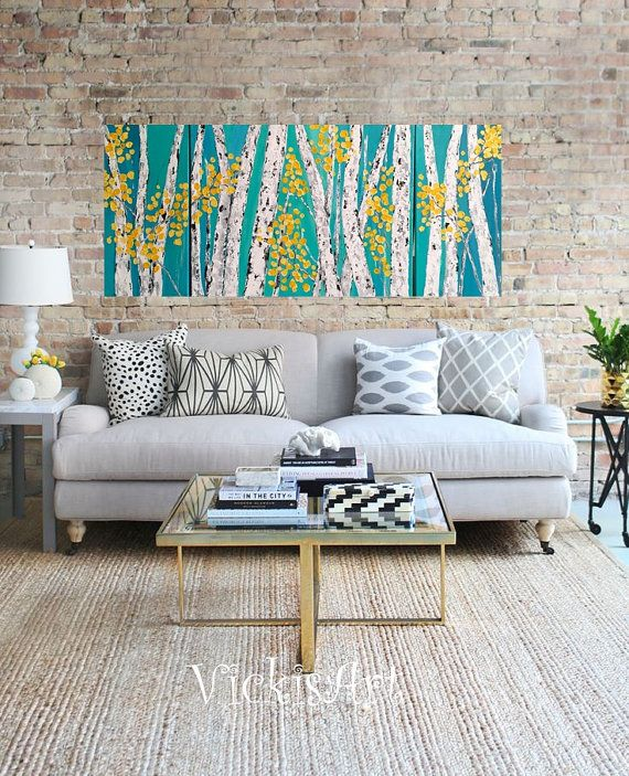 Aspen Birch Tree Wall Art Triptych Original Acrylic Painting commission ships in 5 business Days Free Shipping in US